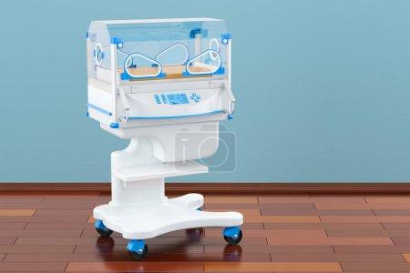 Infant incubator in room on the wooden floor, 3D rendering