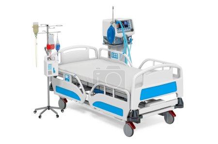 Photo for Intensive care unit, ICU. Medical ventilator, adjustable hospital bed and dropper. 3D rendering - Royalty Free Image