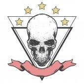 Logo template with creepy skull ribbon and stars