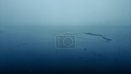 Foggy seascape in dusk