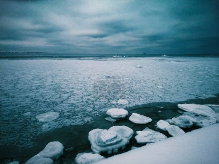 Frozen seascape with iced sea