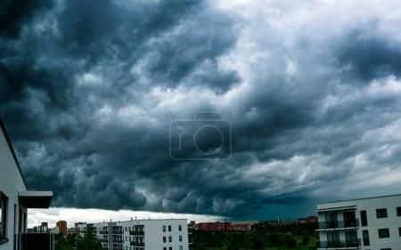 Stormy cloudscape over the apartment buildings