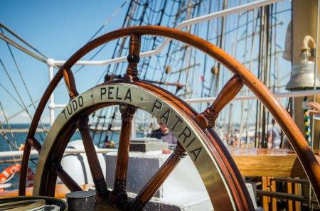 wooden helm wheel