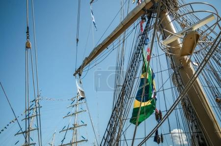 Ship masts with flag