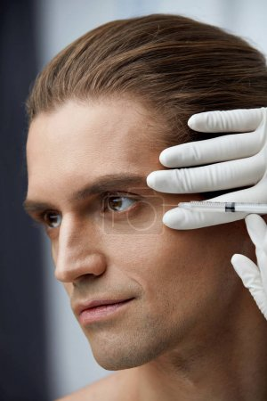 Face Lifting. Handsome Man Getting Facial Beauty Injections