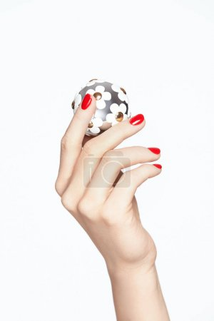 Photo for Beauty Nails. Female Hands With Red Manicure. Close Up Of Woman Hands With Red Nail Polish Holding Fashion Accessories On White Background. High Resolution. - Royalty Free Image