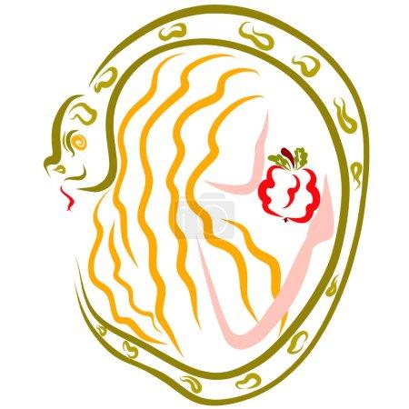 Vorabend von einer Schlange angelockt schmeckt die verbotene Frucht