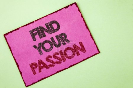 Photo for Word writing text Find Your Passion. Business concept for No more unemployment find challenging dream career written Pink sticky note paper plain background. - Royalty Free Image