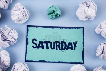 Photo for Conceptual hand writing showing Saturday. Business photo showcasing First day of the weekend Relaxing time Vacation Leisure moment - Royalty Free Image
