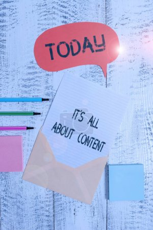 Photo for Writing note showing It S All About Content. Business concept for Express thru Writing Information and Experience Envelop speech bubble paper sheet ballpoints notepads wooden background - Royalty Free Image