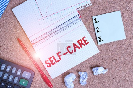 Photo pour Writing note showing Self Care. Business concept for the practice of taking action to improve one s is own health Desk notebook paper office paperboard study supplies chart - image libre de droit