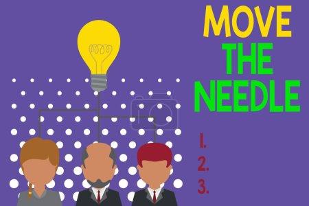 Foto de Nota de escritura que muestra Move The Needle. Concepto de negocio para Hacer una diferencia notable en algo mejor Grupo de tres personas ejecutivas compartir icono de la idea. Reunión del equipo de inicio - Imagen libre de derechos