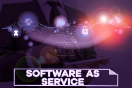 Conceptual hand writing showing Software As Service. Business photo text On Deanalysisd licensed on Subscription and centrally hosted.
