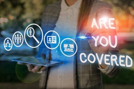 konzeptionelle Handschrift zeigt, sind Sie bedeckt. Business-Foto zeigt Fragen darüber, wie Medikamente durch Ihren Plan abgedeckt sind.