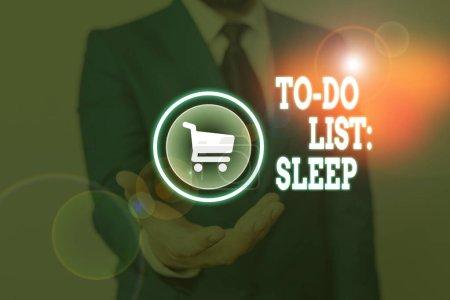 """Photo pour Écriture conceptuelle montrant """"To Do List Sleep"""". Concept signifiant ce qu'il faut faire L'objectif prioritaire est de se reposer - image libre de droit"""