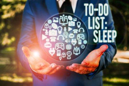 """Photo pour Signal texte indiquant """"To Do List Sleep"""". Photo d'affaires montrant ce qu'il faut faire L'objectif prioritaire est de se reposer - image libre de droit"""
