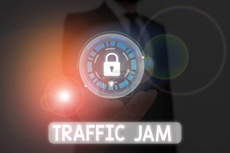Photo pour Écriture de texte Traffic Jam. Photo d'entreprise montrant un grand nombre de véhicules rapprochés et incapables de se déplacer - image libre de droit