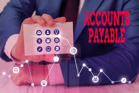 Photo for Conceptual hand writing showing Accounts Payable. Concept meaning money owed by a business to its suppliers as a liability - Royalty Free Image