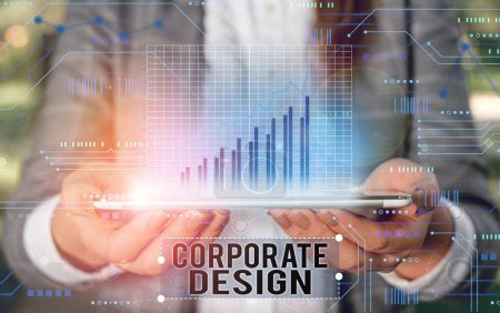 Photo for Handwriting text writing Corporate Design. Conceptual photo official graphical design of the logo and name of a company - Royalty Free Image