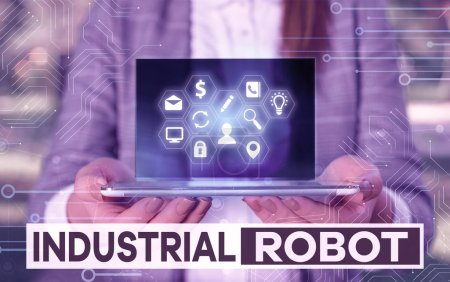 Photo for Writing note showing Industrial Robot. Business concept for robotic mechanism used in the fabrication of products - Royalty Free Image