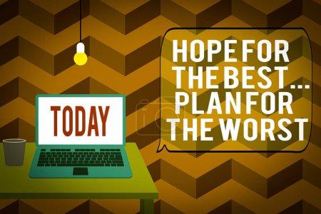 Photo pour Note d'écriture montrant l'espoir pour le meilleur plan pour le pire. Concept d'affaires pour Faire des plans bonnes et mauvaises possibilités Vue de face ordinateur portable ouvert couché sur une ampoule de bureau en bois verre tombant - image libre de droit