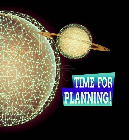 Photo pour Word writing text Time For Planning. Photo d'entreprise montrant l'exercice d'un contrôle conscient consacré à des activités spécifiques Éléments de cette image fournis par Nasa - image libre de droit
