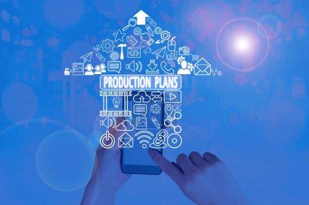Photo pour Affiche montrant les plans de production. Présentation de photos d'affaires sur la façon de fabriquer un produit particulier - image libre de droit