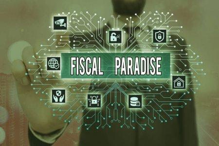 Photo pour Note illustrant le paradis fiscal. Le concept d'entreprise Le gaspillage de fonds publics est un sujet de grande préoccupation - image libre de droit