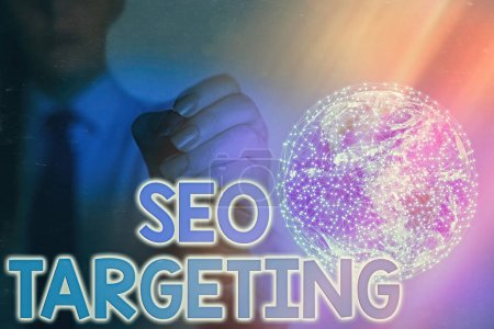 Handwriting text writing Seo Targeting. Concept meaning Specific Keywords for Location Landing Page Top Domain Elements of this image furnished by NASA.