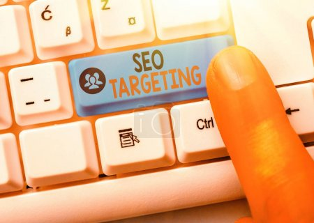Conceptual hand writing showing Seo Targeting. Business photo text Specific Keywords for Location Landing Page Top Domain.