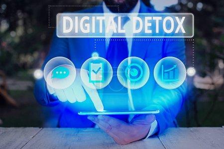 Conceptual hand writing showing Digital Detox. Con...