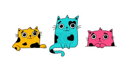 Illustration for Illustration of a cute kitty. Vector. Colored cute cats. Flat kawaii style. Heroes for postcards. Mascot for the company, drawing for t-shirts and greeting cards. - Royalty Free Image