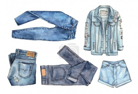 watercolor fashion set illustration denim jeans.
