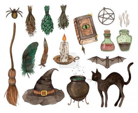 watercolor sketch halloween set