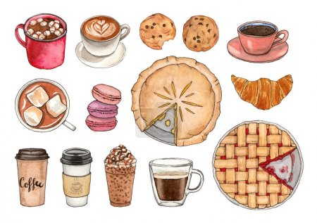 watercolor coffee and sweets