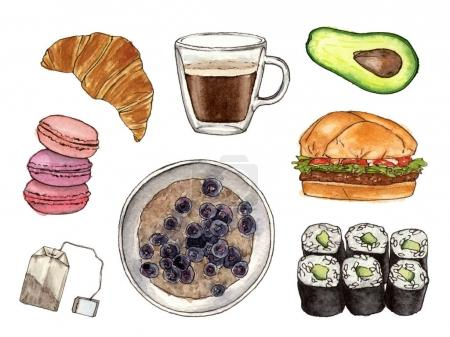watercolor hand painting foods and drink.