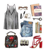 watercolor fashion outfit
