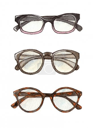 watercolor  fashion set of glasses
