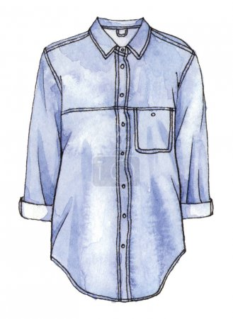 watercolor denim shirt
