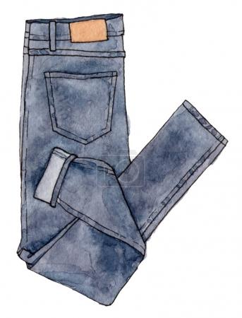sketch of fashion jeans.