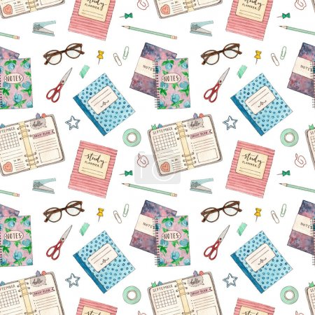 pattern with school stationery.