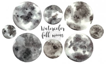 watercolor illustrations full moons.