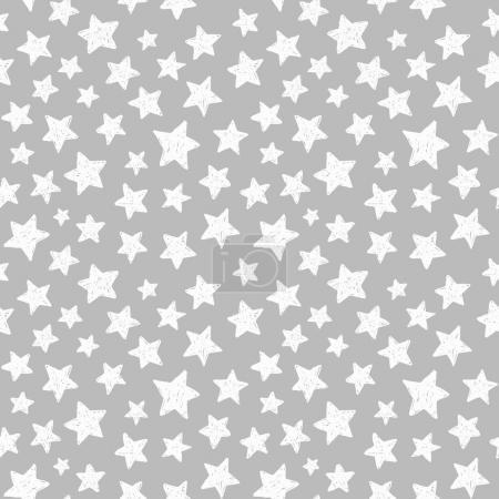 white stars doodle pattern