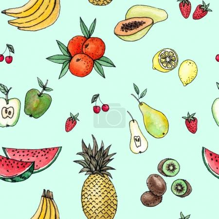Photo for Watercolor hand drawing tropical fruits. seamless pattern on a mint background - Royalty Free Image