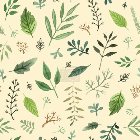 watercolor herbs and leaves hand painted seamless pattern on a yellow background