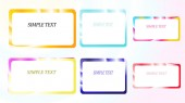 A set of six frames of rectangular and square edging gradient metallic shiny shining frames with overflows reflows of abstract beautiful unusual on a colorful background and a simple text Vector illustration