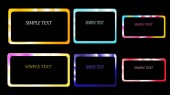A set of six frames of rectangular and square edging gradient metallic shiny shining frames with overflows ebbs beautiful on a black background and a simple text Vector illustration