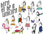 The cute set of 11 hand-drawn unicorns and lettering