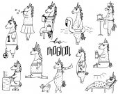 The cute set of 11 hand-drawn unicorns and lettering - be magical