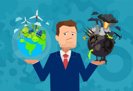 Man having dilemma with planet climate